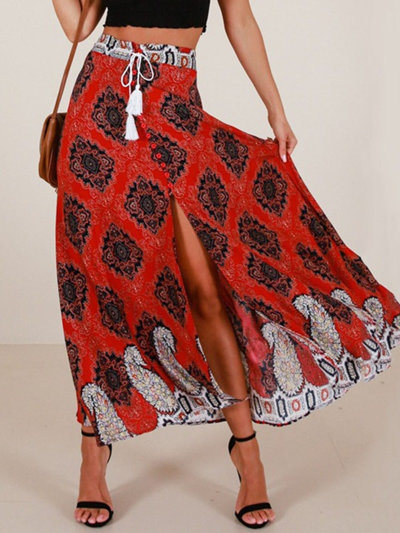 Ericdress Ankle-Length Asymmetrical Print Lace-Up Casual Skirt