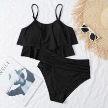 Bikini Badeanzug mit Zipfelsaum, Ruesche und hoher Taille