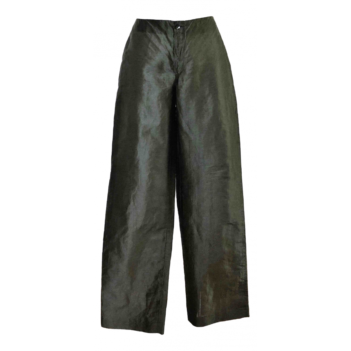 Non Signé / Unsigned \N Green Linen Trousers for Women 44 IT