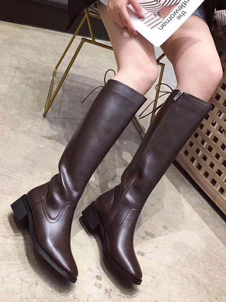 Milanoo Women\'s Knee-High Boots Black Square Toe Low Block Heel Boots