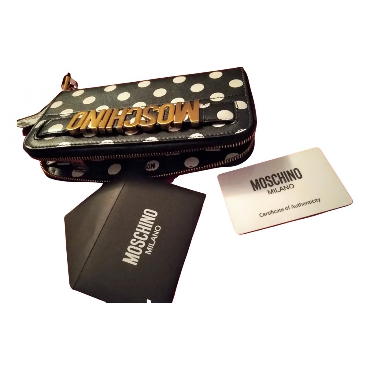 Moschino \N Portemonnaie in  Schwarz Leder