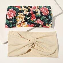 2 Stuecke Stirnband mit Blumen Muster