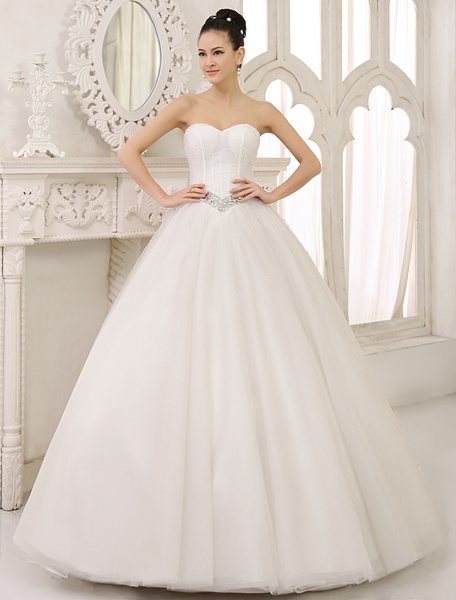 Milanoo Classic Floor-Length Ivory Ball Gown Bridal Wedding Dress with Sweetheart Neck Rhinestone Tulle