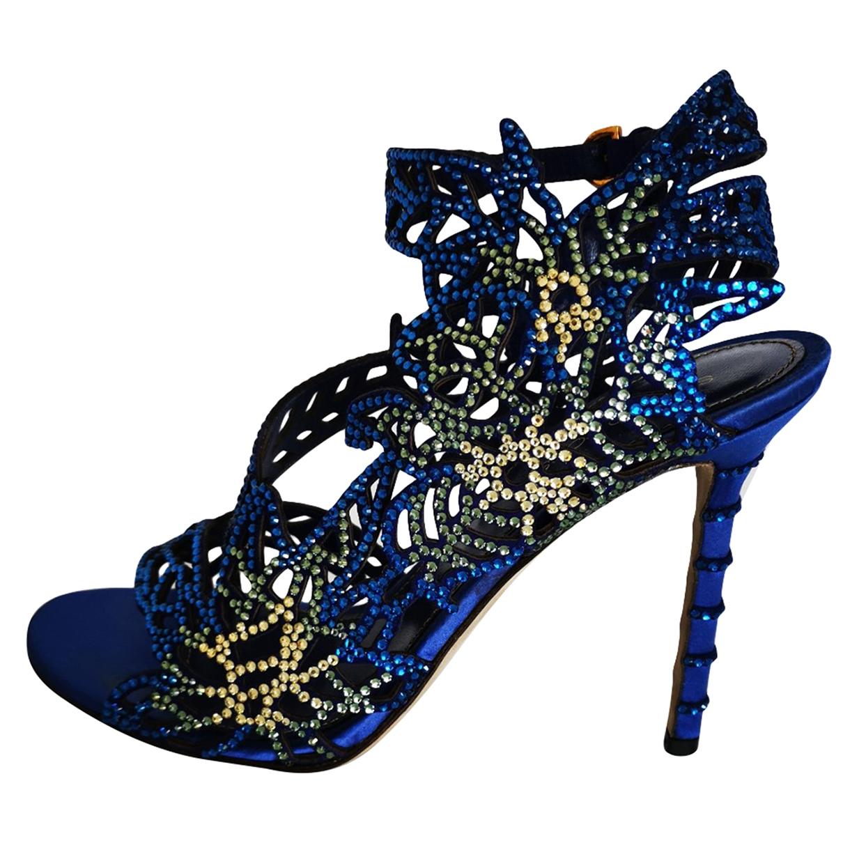 Sergio Rossi - Sandales   pour femme en a paillettes - bleu