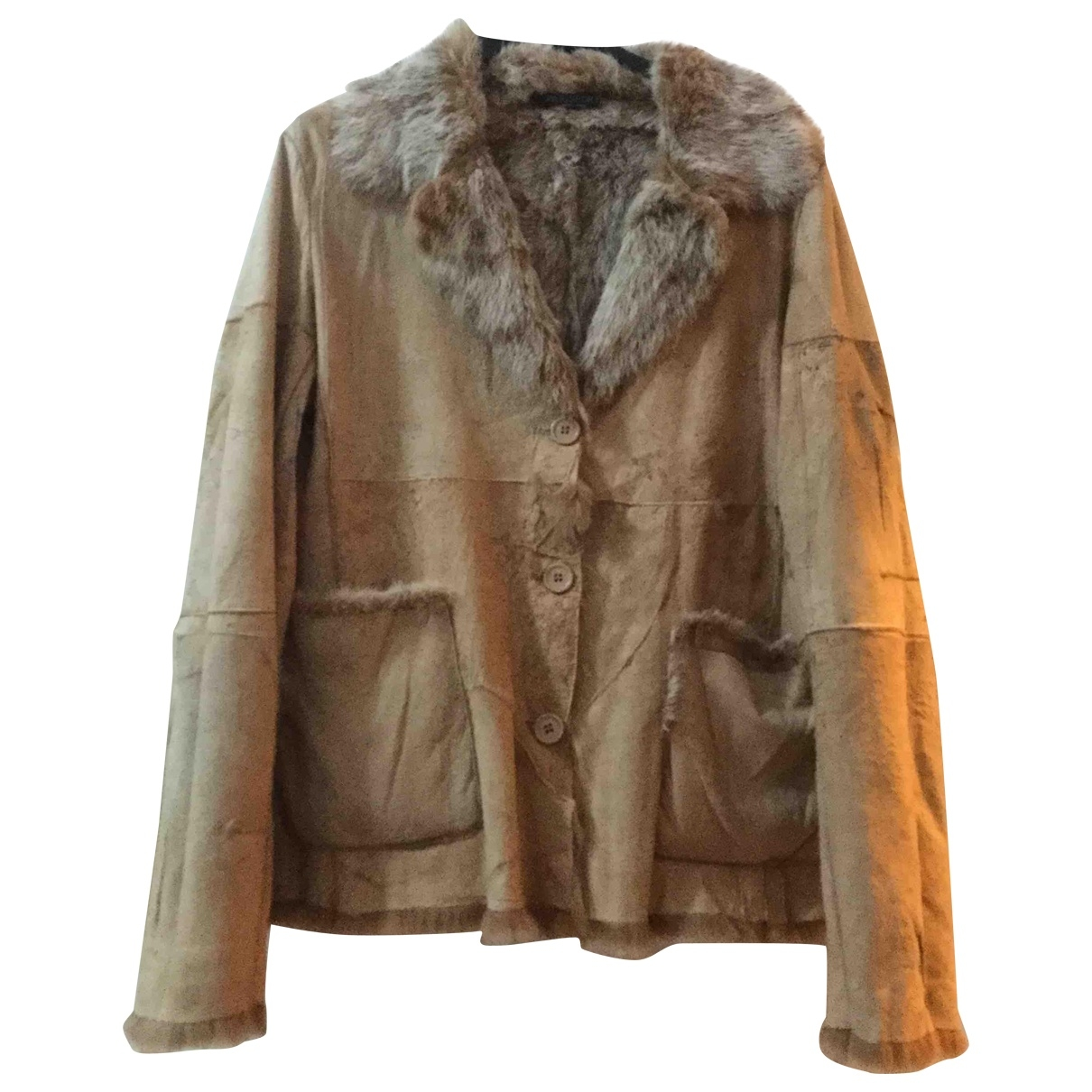 Non Signé / Unsigned \N Beige Rabbit Leather jacket for Women 42 IT