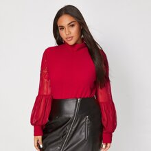 Plus High Neck Lace Bishop Sleeve Top