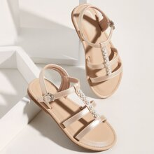 Toddler Girls Faux Pearl Decor Gladiator Sandals