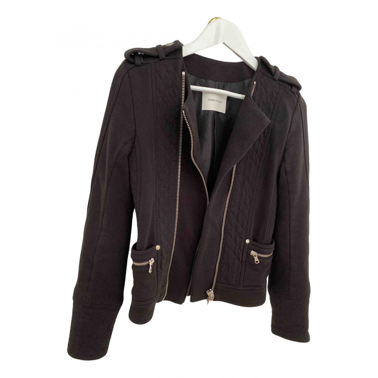 Pierre Balmain N Black Cotton Leather jacket for Women 36 FR