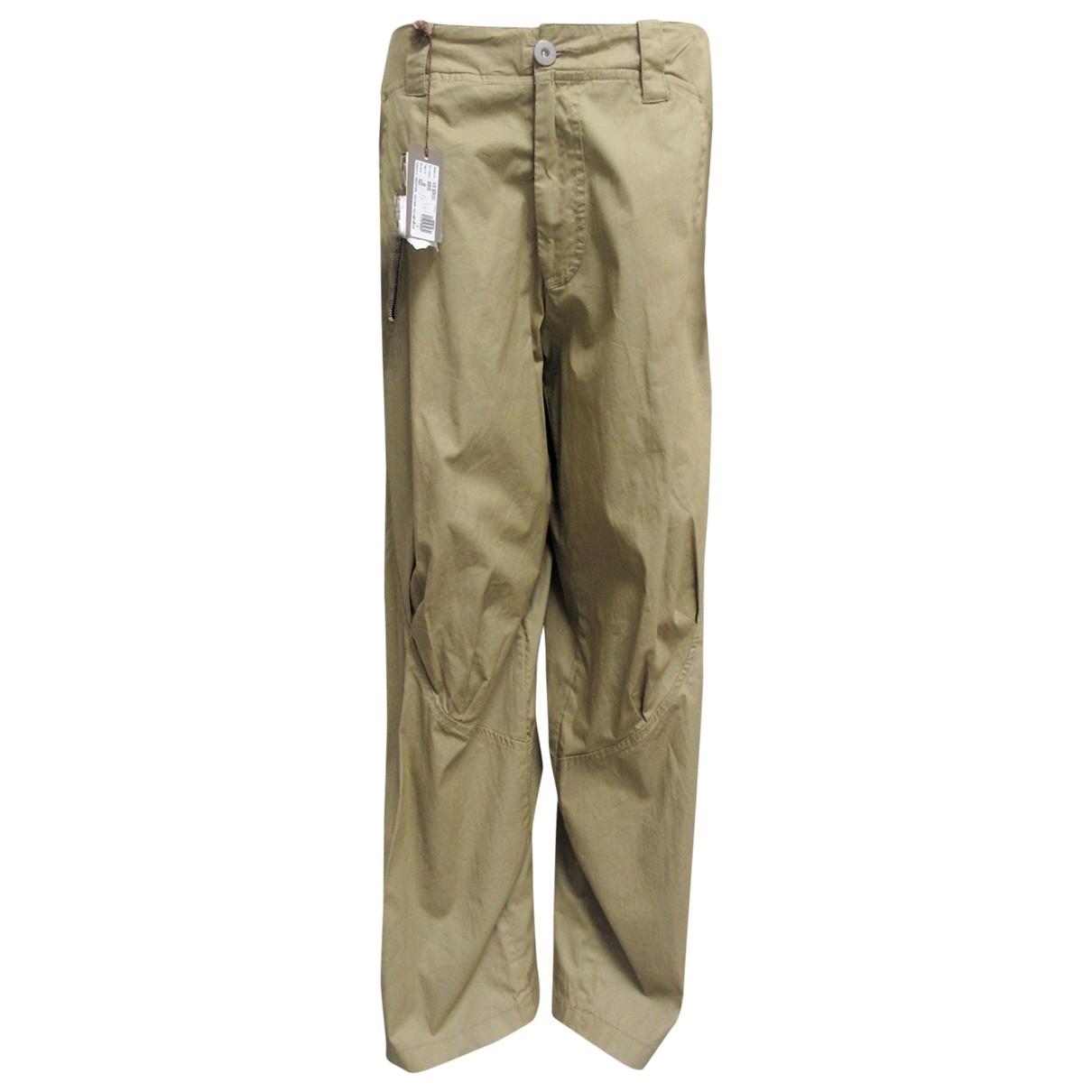 Non Signé / Unsigned \N Khaki Cotton Trousers for Women 48 IT