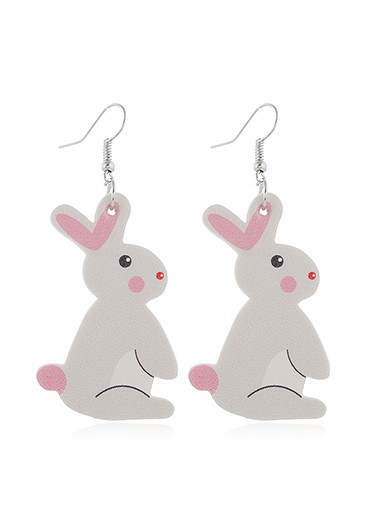 Mother's Day Gifts Plastic Rabbit Pattern Light Grey Earring Set - One Size
