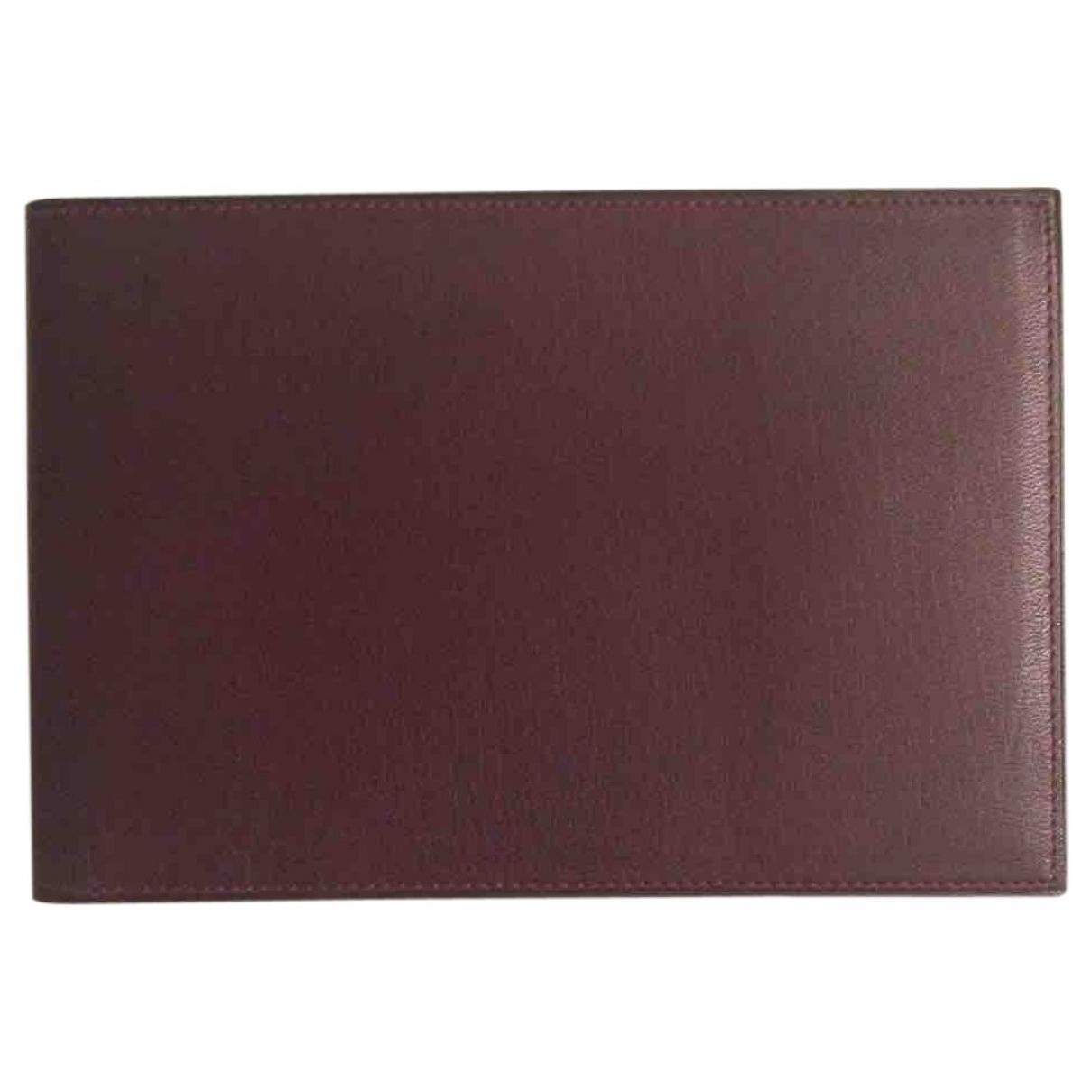 Valextra \N Burgundy Leather Small bag, wallet & cases for Men \N