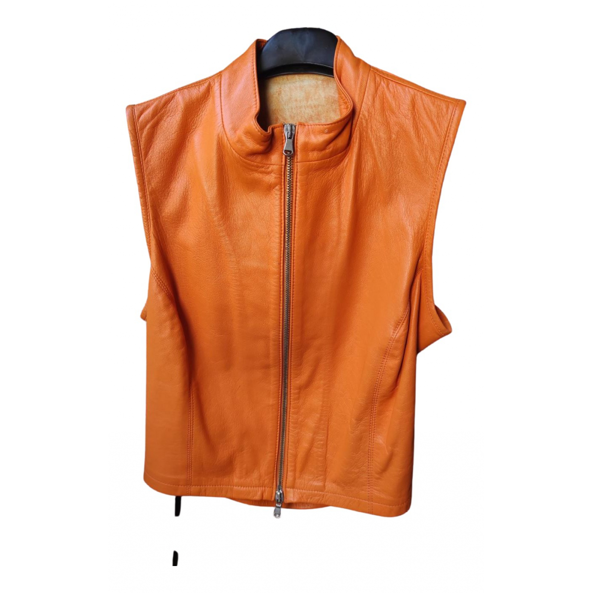 Non Signé / Unsigned \N Orange Leather jacket for Women 44 IT