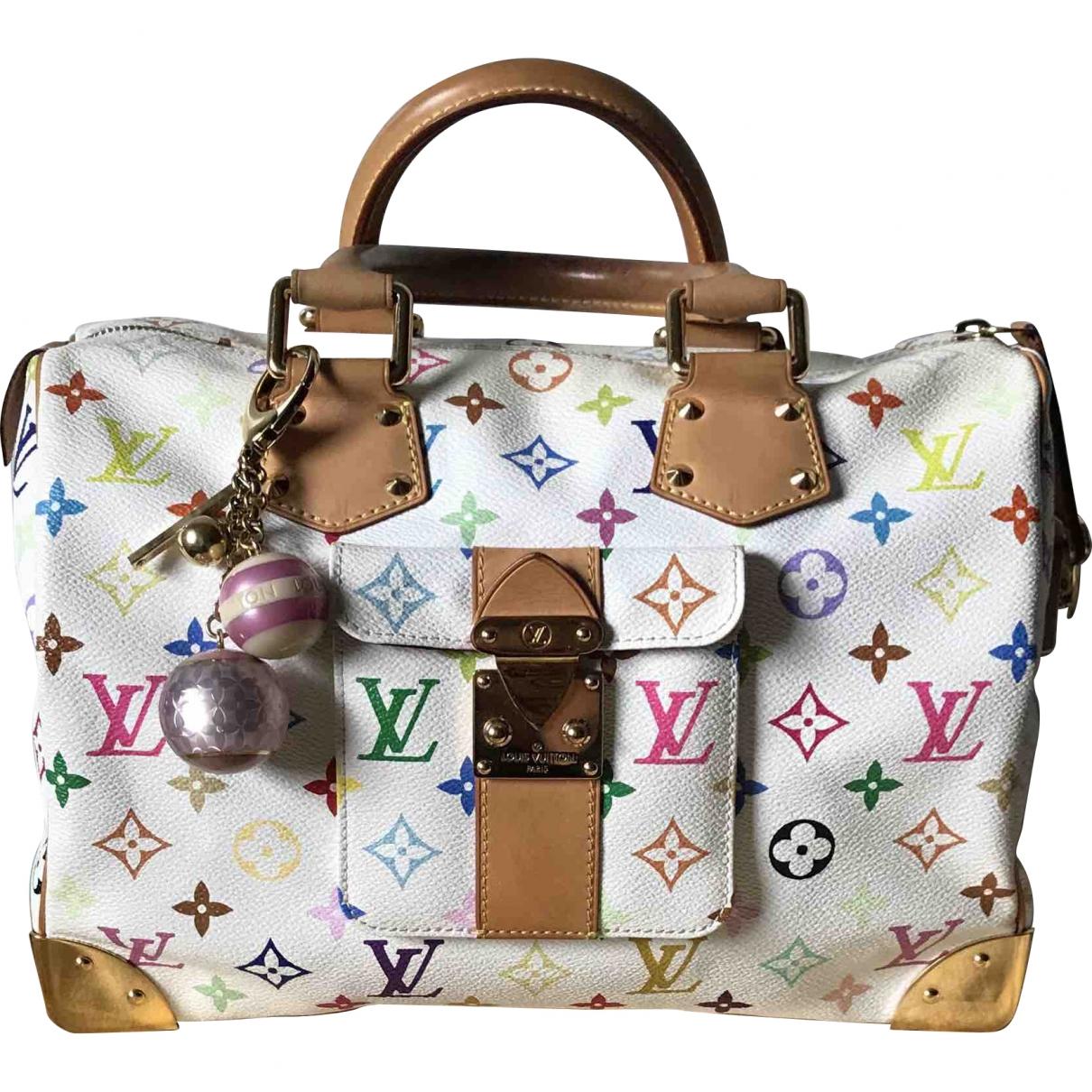 Louis Vuitton Speedy Handtasche in  Weiss Leinen