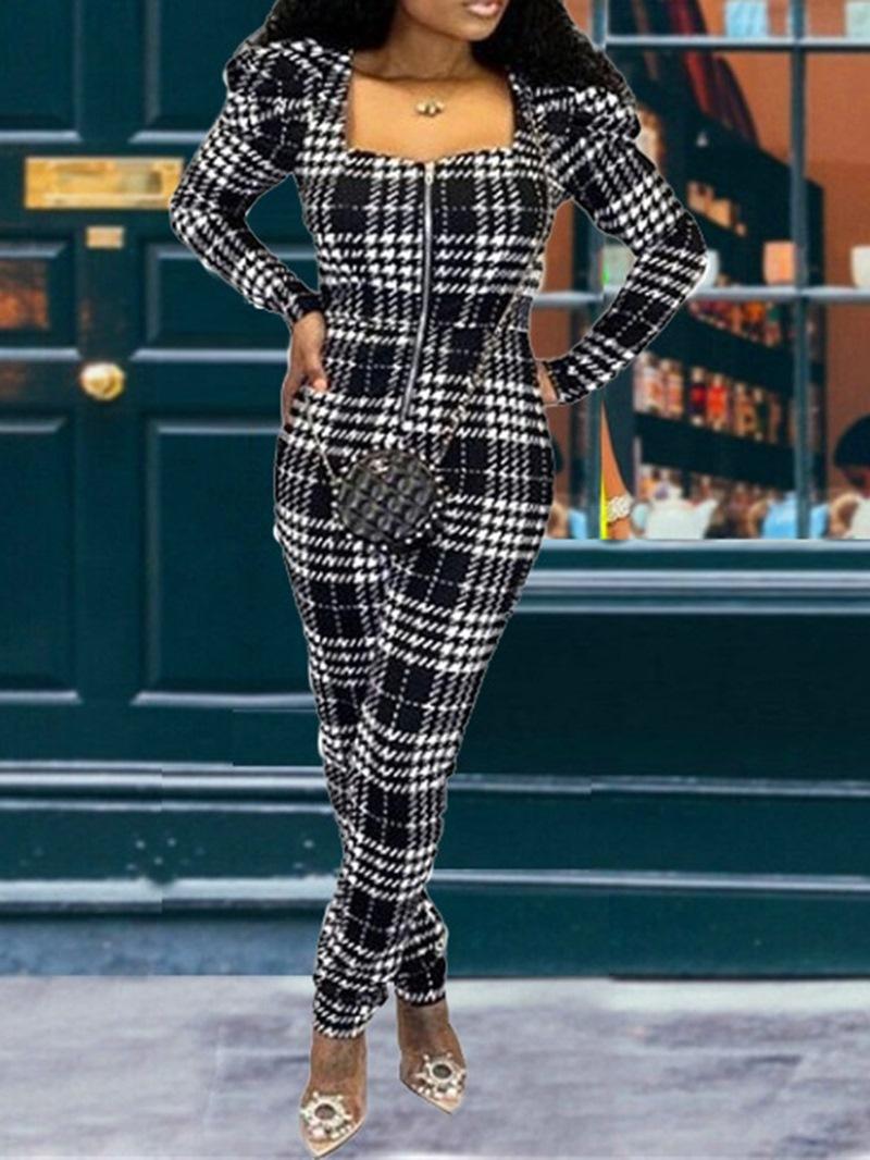 Ericdress Full Length Office Lady Plaid Mid Waist Slim Jumpsuit