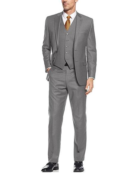 Mens Gray 3Piece Single Breasted Slim Fit 2Button Vested Suit Set