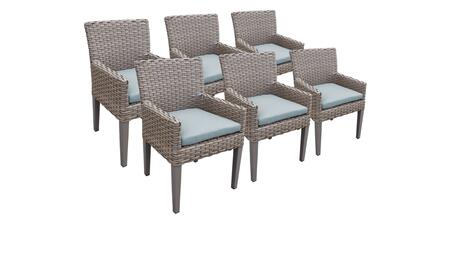 Monterey Collection MONTEREY-TKC297b-DC-3x-C-SPA 6 Dining Chairs With Arms - Beige and Spa