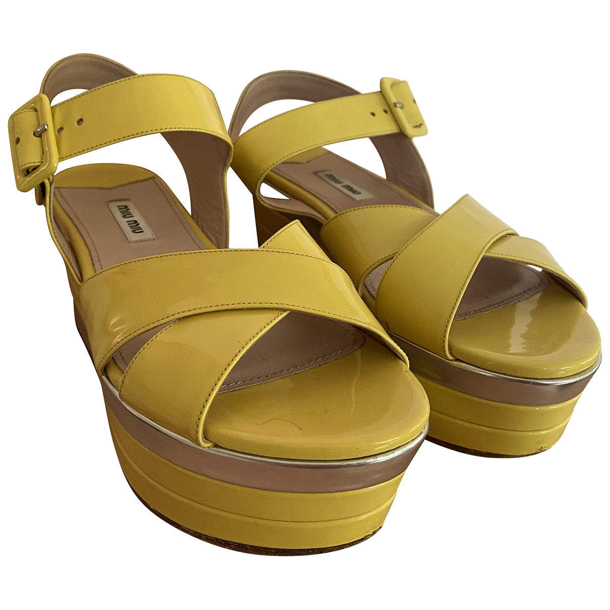 Miu Miu \N Yellow Patent leather Sandals for Women 38 IT