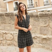 Notched Collar Buttoned Front Grid Romper