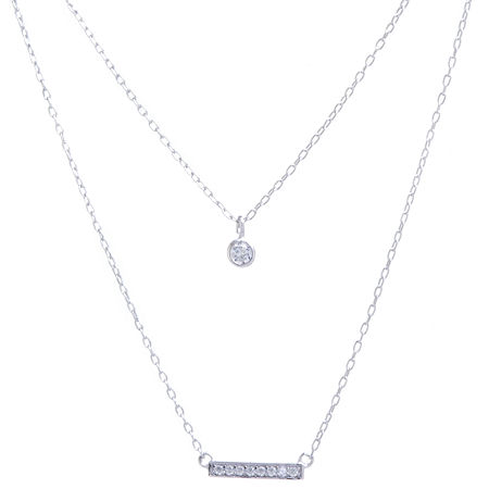 Silver Treasures Cubic Zirconia Sterling Silver 16 Inch Cable Pendant Necklace, One Size , No Color Family