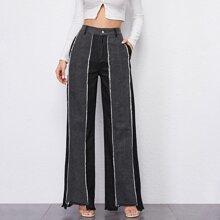 Jeans mit hoher Taille, ungesaeumtem Saum und breitem Beinschnitt