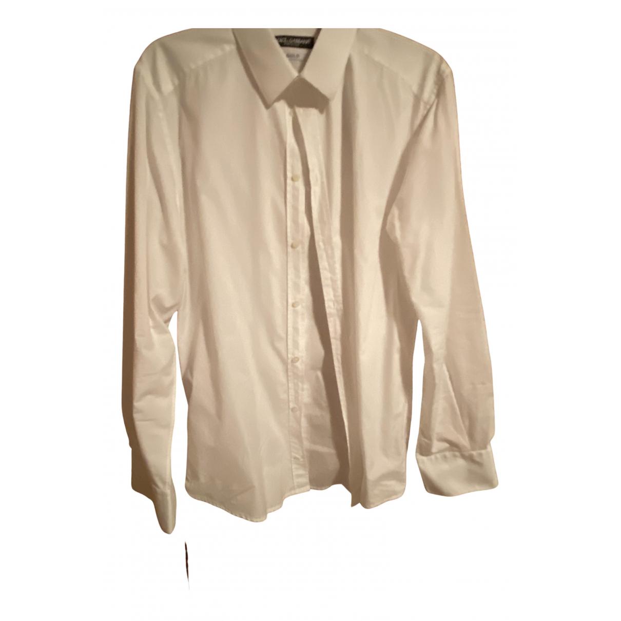 Dolce & Gabbana N White Cotton Shirts for Men 40 EU (tour de cou / collar)