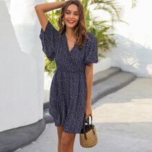 All Over Print Butterfly Sleeve Dress