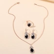4pcs Gemstone Decor Jewelry Set
