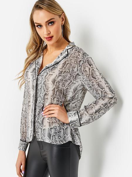 Yoins Leopard Print Lapel Collar Shirts