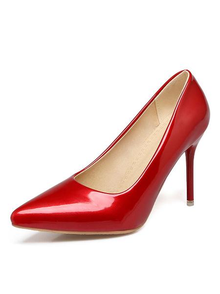Milanoo Women High Heels Plus Size Pink Pointed Toe Slip On Pumps