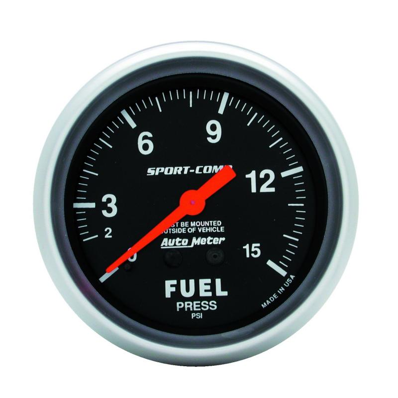 AutoMeter GAUGE; FUEL PRESSURE; 2 5/8in.; 15PSI; MECHANICAL; SPORT-COMP