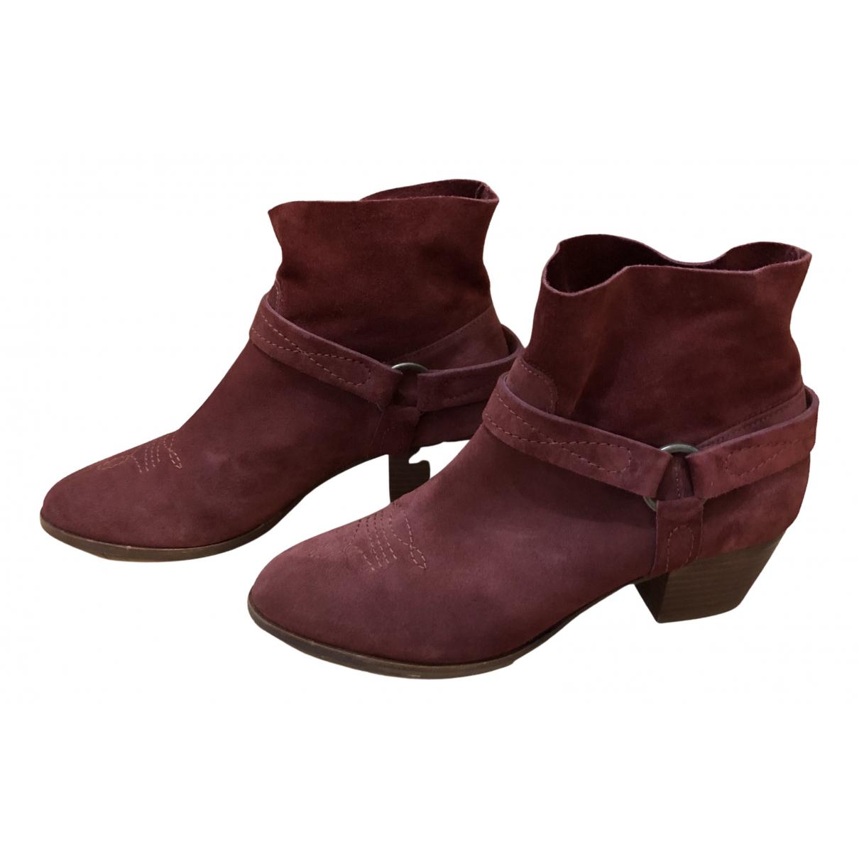 Sezane - Boots   pour femme en suede - bordeaux