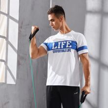 Men Colorblock Letter Graphic Sports Tee