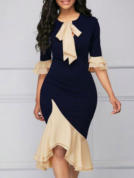 Milanoo Vestido ajustado con cuello redondo y manga larga de dos tonos para mujer