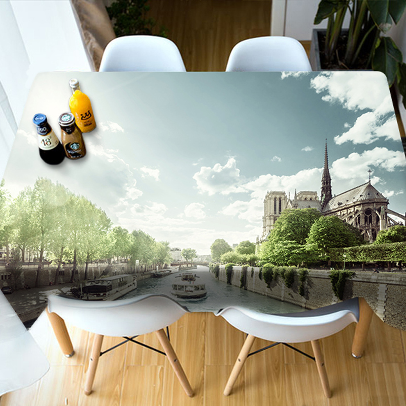 Rectangle Polyester Oilproof European Style 3D Tablecloth