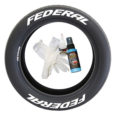 Tire Stickers FEDRL-1718-125-4-W Permanent Raised Rubber Lettering 'Federal' Logo - 4 of each -  17