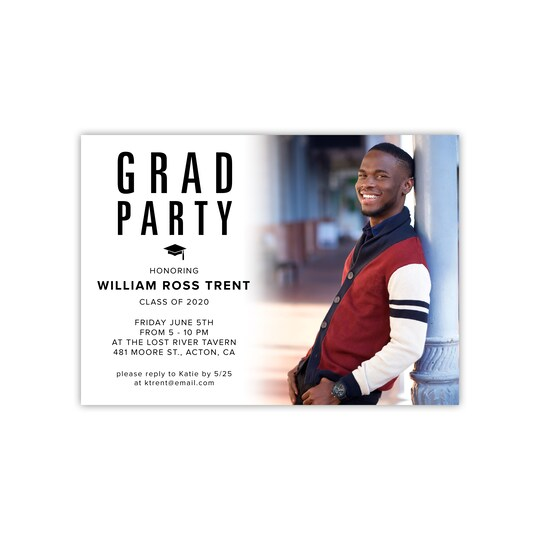 Gartner Studios® Personalized Modern Ombre Flat Graduation Invite in White | 5