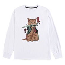 Men Japanese Letter And Cat Graphic Tee