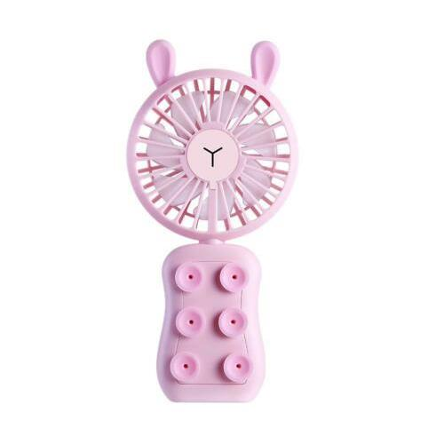 Well Star WT-9101 Little Bear/Rabbit Mini USB Fan Phone Holder with Colorful Light Mode Six silicone suction cups Handhe