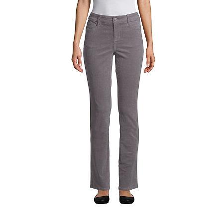 St. John's Bay Womens Mid Rise Straight Corduroy Pant, 2 Petite Short , Gray
