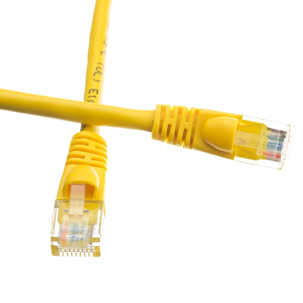 Cat6a Yellow Ethernet Patch Cable, Snagless/Molded Boot, 500 MHz, 1 foot