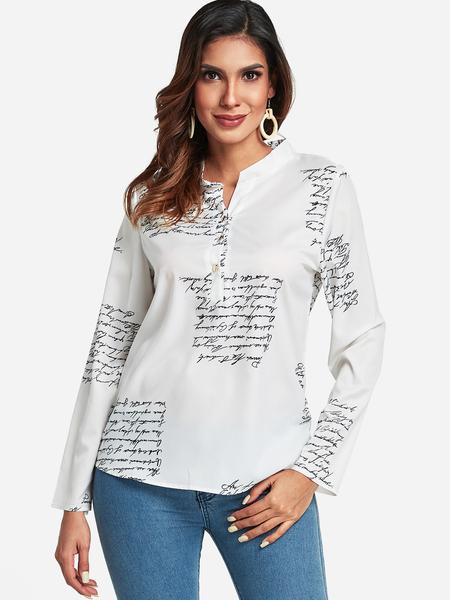 Yoins White Letter Print Button Up shirt