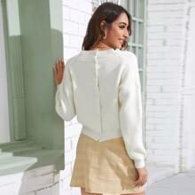 Strick Crop Pullover mit Knopfen hinten und V-Kragen