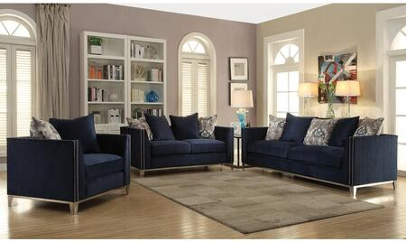 Phaedra Collection 52830SET 3 PC Living Room Set with Sofa + Loveseat + Chair in Blue