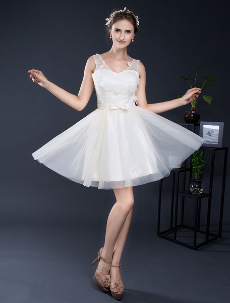 Milanoo Short Wedding Dress Lace V-neck Tulle A-line Mini Bridal Dress Sash Lace-up Homecoming Dress