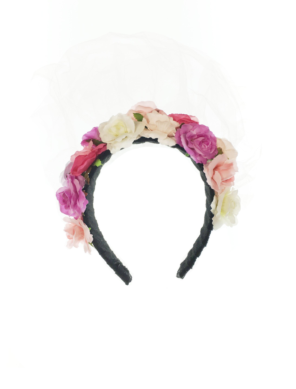 Kostuemzubehor Haarreif Blumen bunt mit Schleier Farbe: multicolor bzw. bunt