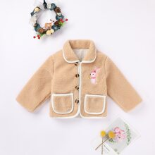 Baby Girl Rabbit Embroidered Button Through Teddy Coat