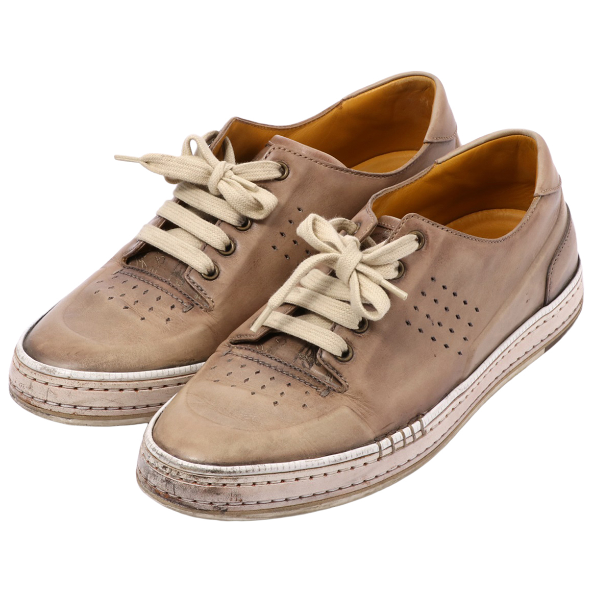 Non Signé / Unsigned N Beige Leather Trainers for Men 7.5 US