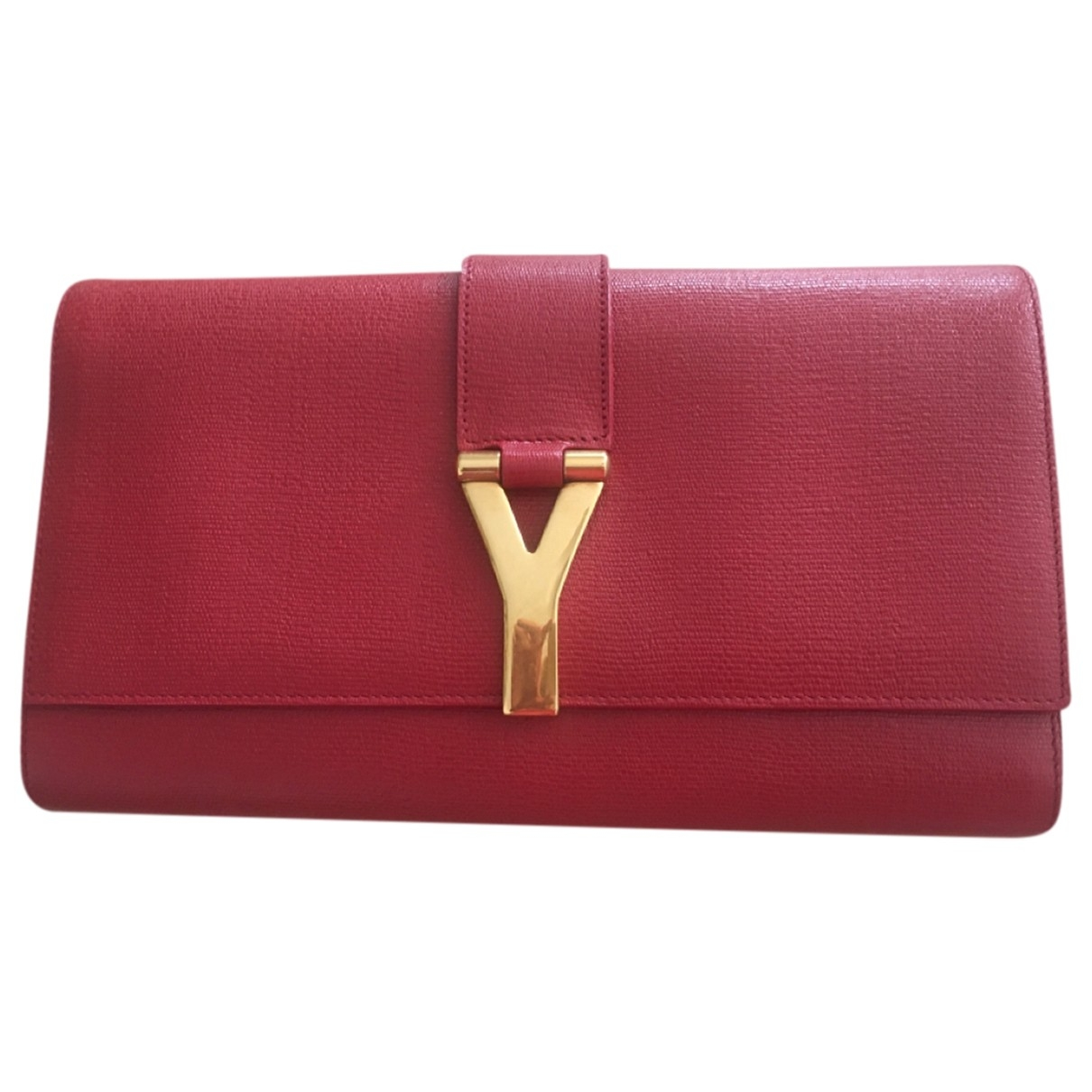 Yves Saint Laurent Chyc Clutch in  Rot Leder
