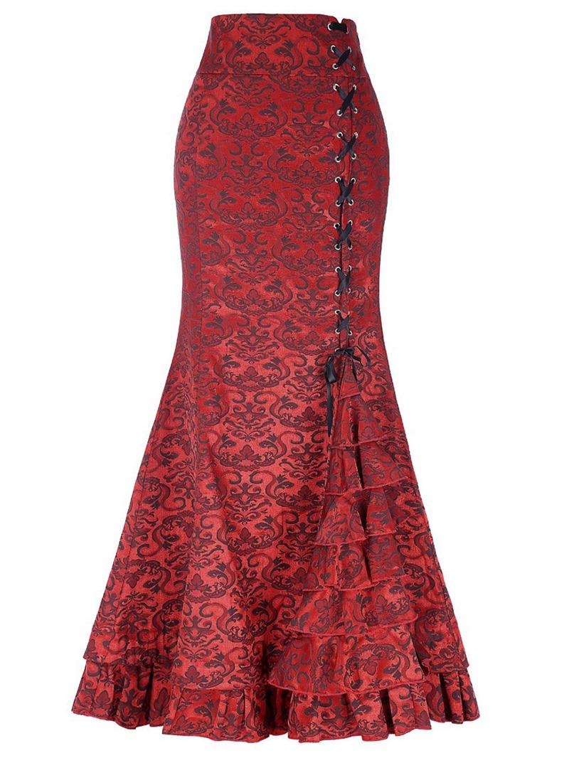 Ericdress Asymmetric Patchwork Lace-Up Women's Skirt