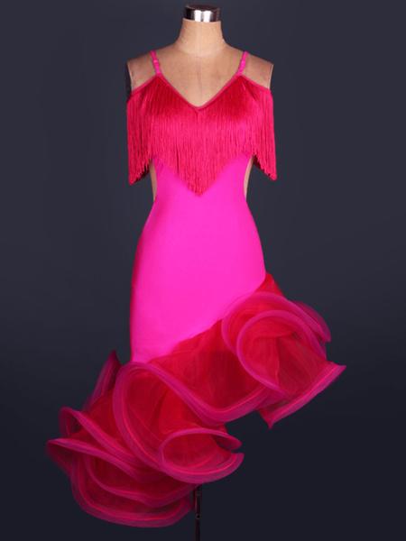 Milanoo Dance Costumes Latin Dancer Dresses Organza V Neck Spaghetti Strap Fringes Cut Out Irregular Hem Bodycon Dancing Clothes Hallloween